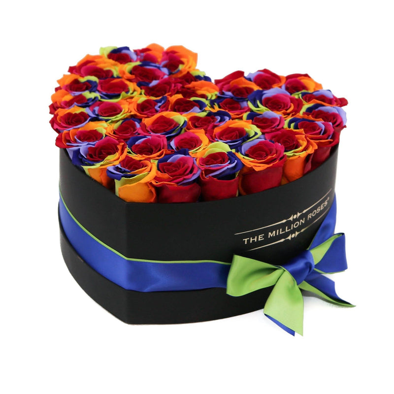 The Million Roses Europe - Heart - Rainbow Eternity Roses - Black Box Delivered Anywhere in Europe