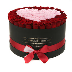 The Million Large Luxury Box - Red Roses & Pink Heart - The Million Roses Slovakia