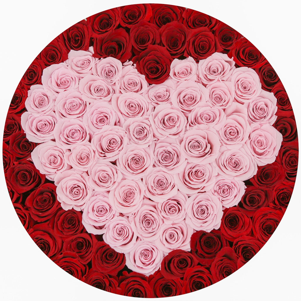 The Million Large Luxury Box - Red Eternity Roses & Pink Heart - The Million Roses Europe - Italia, France, Österreich, Deutschland, Espana