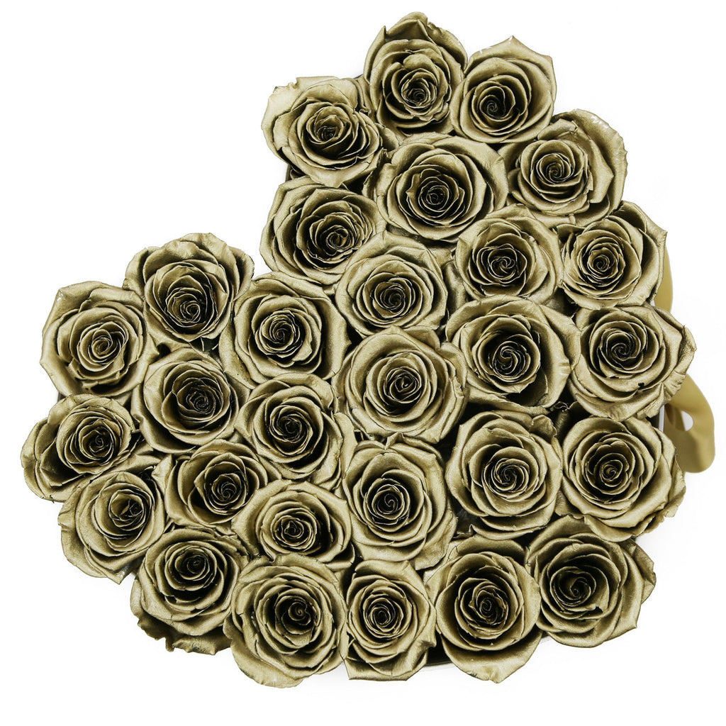 The Million Roses Europe - The Million Love Heart - Gold Eternity Roses - White Box Delivered Anywhere in Europe
