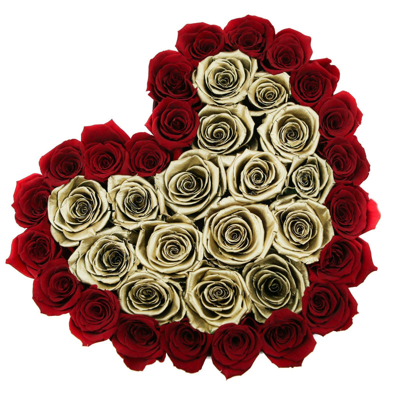 The Million Love Heart - Red/Gold Eternity Roses - White Box - The Million Roses Slovakia