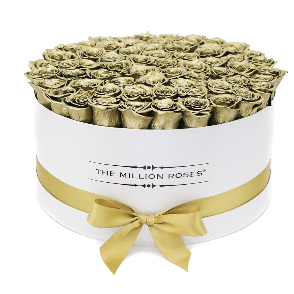 The Million Roses Europe - The Million Large Luxury Box - Gold Roses - White Box Delivered Anywhere in Europe