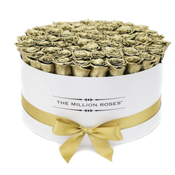 The Million Large Luxury Box - Gold Eternity Roses - White Box - The Million Roses Slovakia