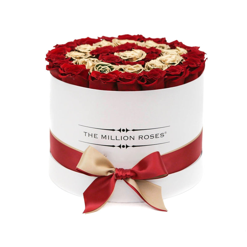 Medium - Red Eternity Roses & Gold Circles-White Box - The Million Roses Slovakia