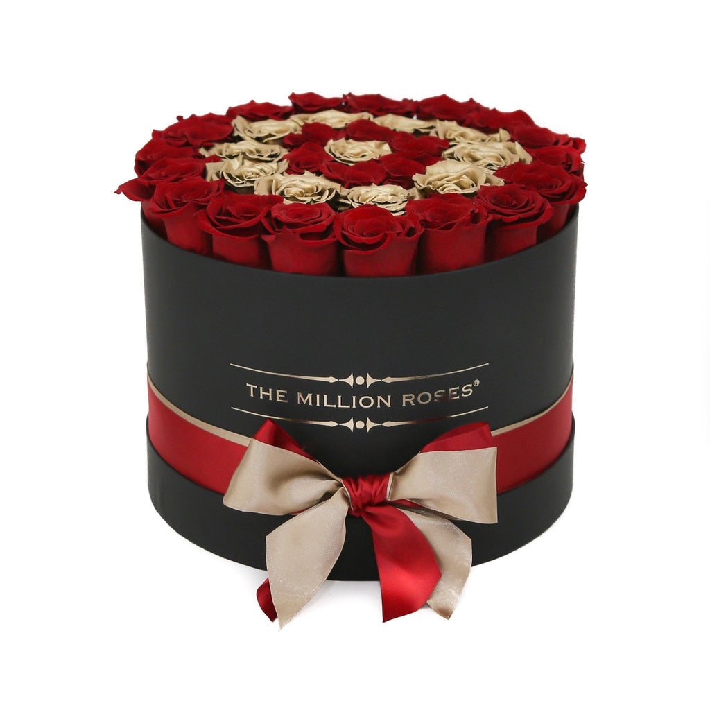 Medium - Red Eternity Roses & Gold Circles - Black Box - The Million Roses Europe - Italia, France, Österreich, Deutschland, Espana