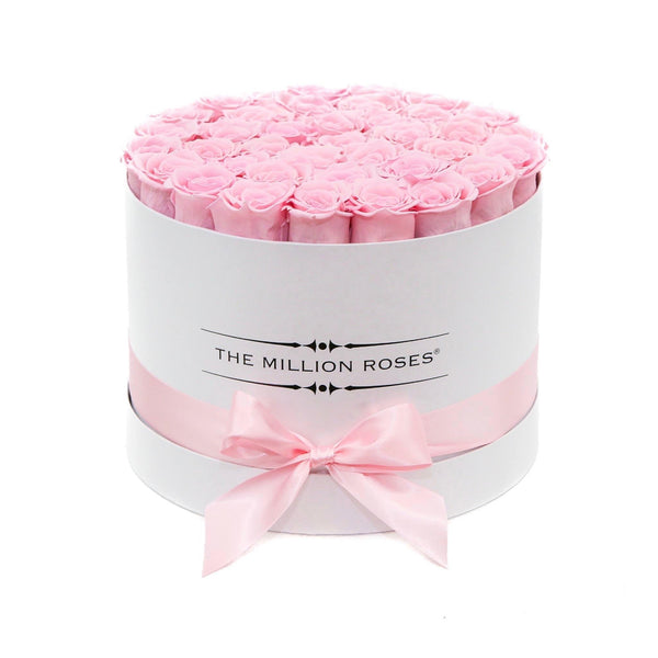 Medium - Candy Pink Eternity Roses - White Box - The Million Roses Slovakia