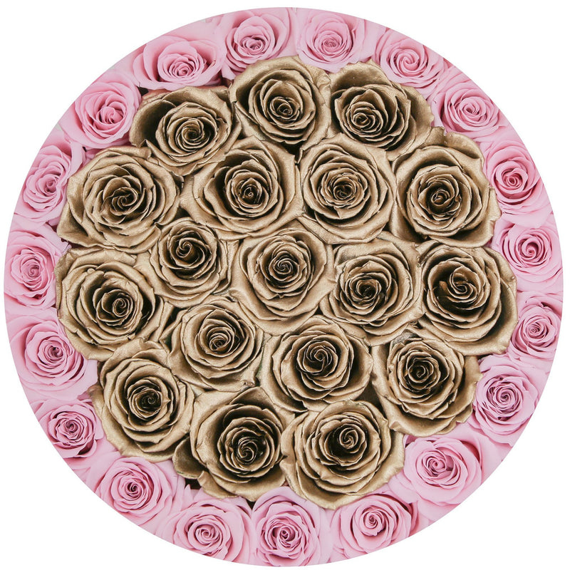 Medium - Candy Pink / Gold Eternity Roses - White Box - The Million Roses Slovakia