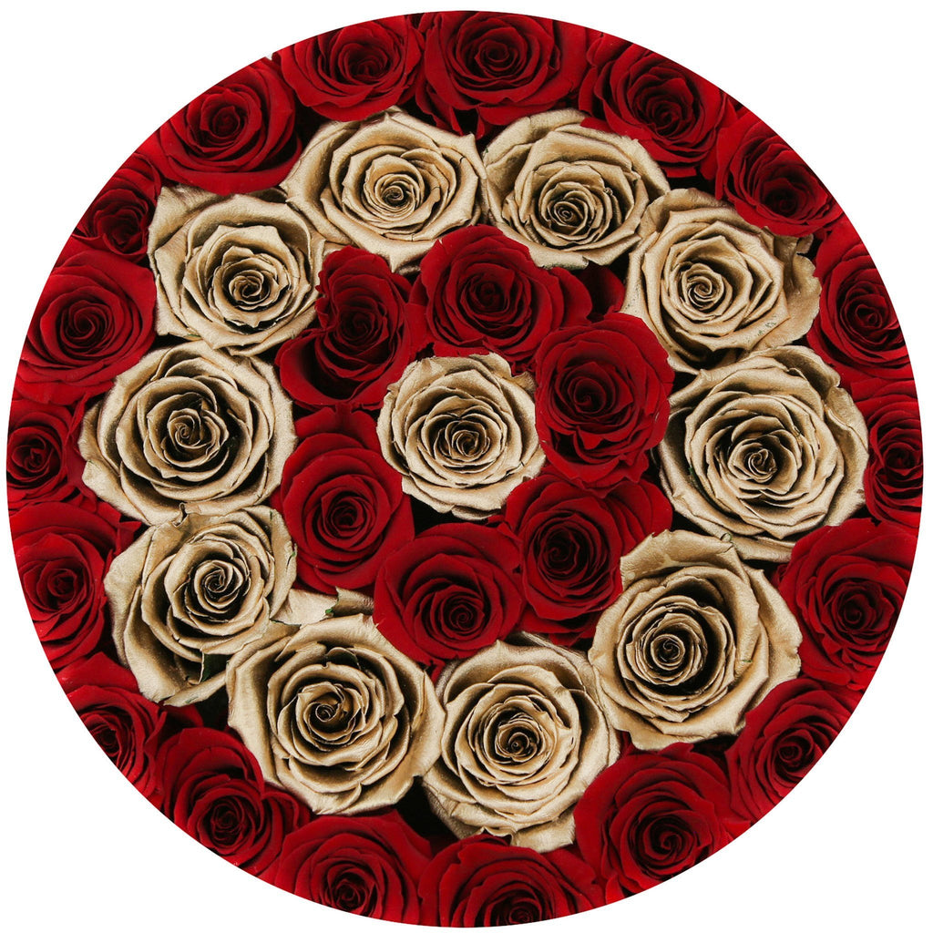 Medium - Red Eternity Roses & Gold Circles - The Million Roses Europe - Italia, France, Österreich, Deutschland, Espana