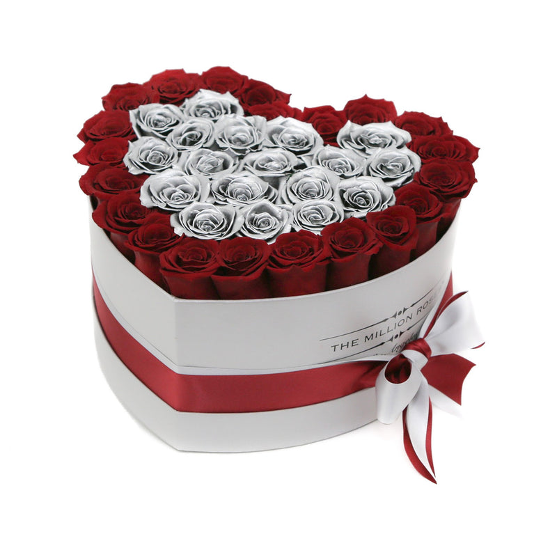 The Million Love Heart - Silver & Red Roses - White Box - The Million Roses Slovakia