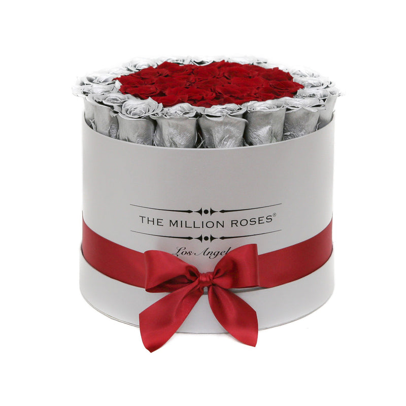 Medium - Red & Silver Roses - Silver Box - The Million Roses Slovakia