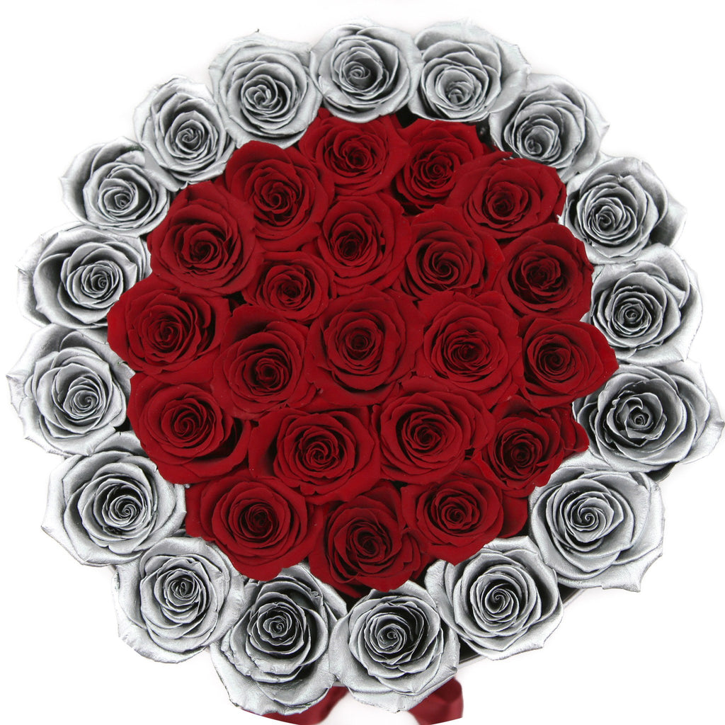 Medium - Red & Silver Roses - Silver Box