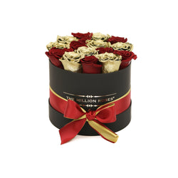 Small - Red &Gold Roses  - Black Box - The Million Roses Slovakia