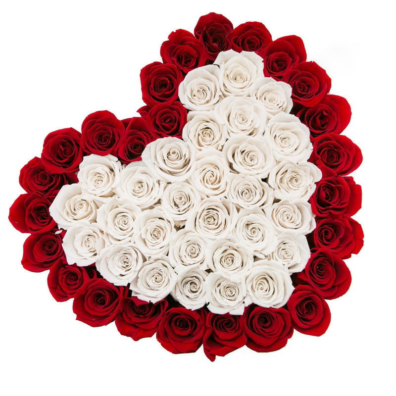 The Million Love Heart - Red & White Roses - Vanilla Box