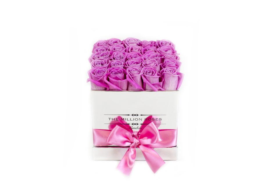 Cube - Pink Roses - Silver Box - The Million Roses Slovakia