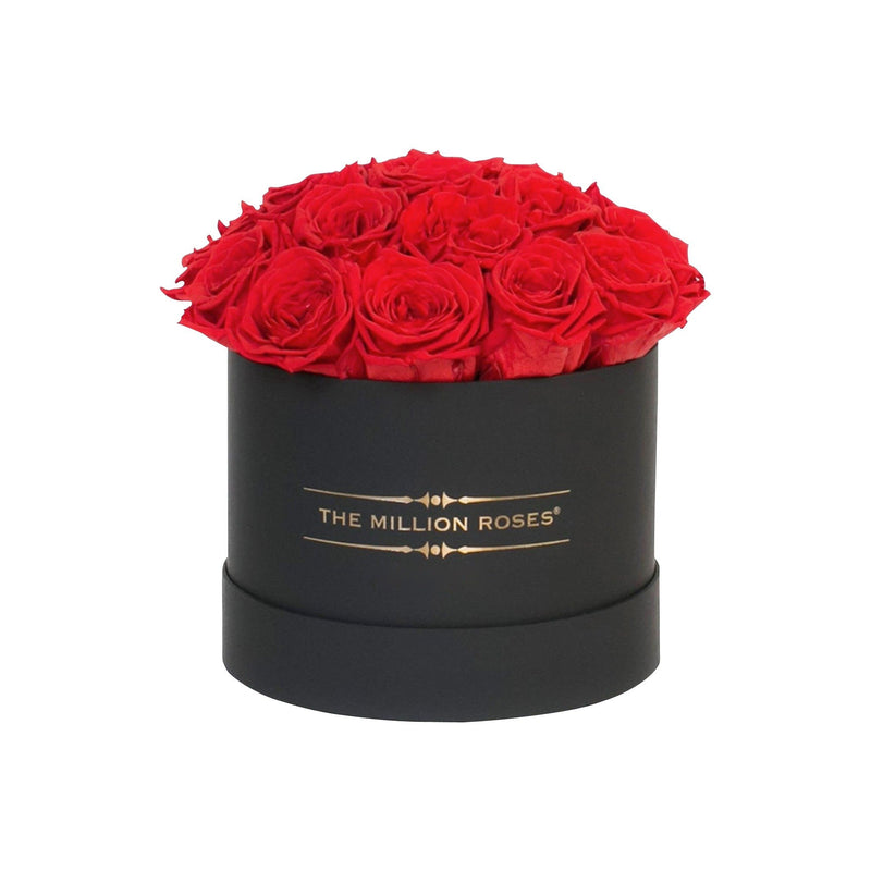 "Small - Red Eternity Roses ""Sphere"" - Black Box - The Million Roses Slovakia"