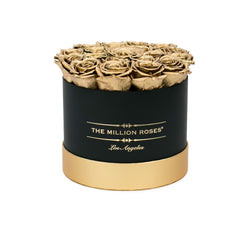 Small - Gold Eternity Roses - Black & Gold Box - The Million Roses Slovakia