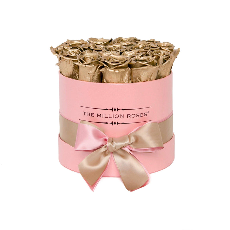 The Million Roses Europe - Small - Gold Eternity Roses - Pink Box Delivered Anywhere in Europe