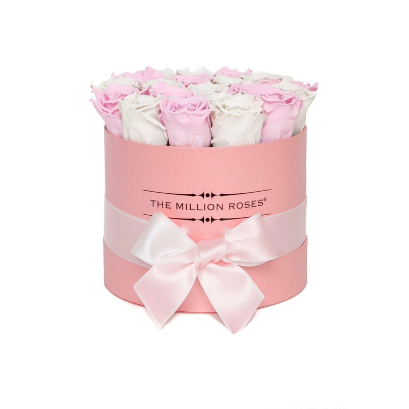 Small - Candy Pink & White  Eternity Roses - Pink Box - The Million Roses Slovakia