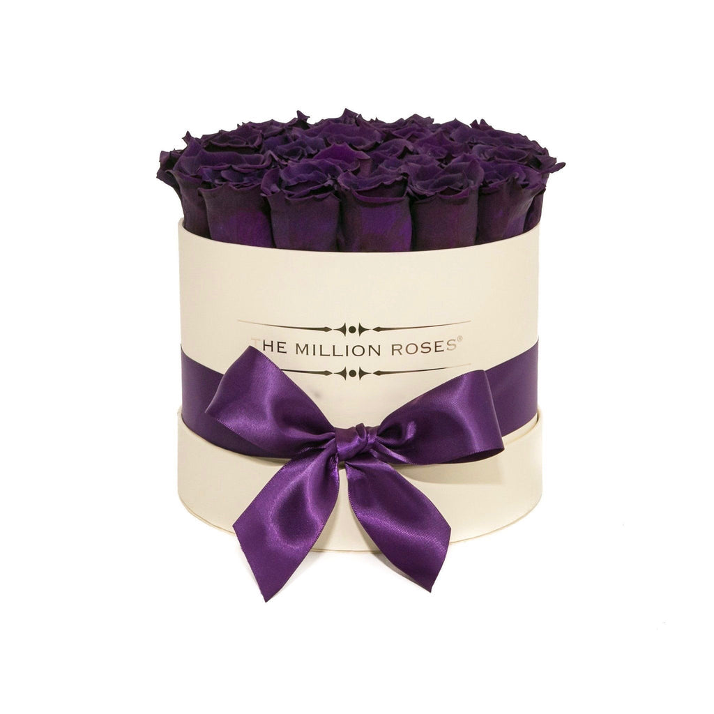 The Million Roses Europe - Small - Dark Purple Eternity Roses - Vanilla Box Delivered Anywhere in Europe