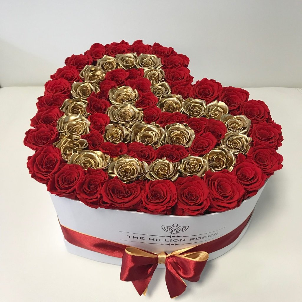 The Million Love Heart -  Red & Gold Eternity Roses - White Box