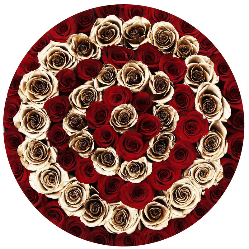 The Million Large Luxury Box - Red Eternity Roses & Golden Circles - The Million Roses Slovakia