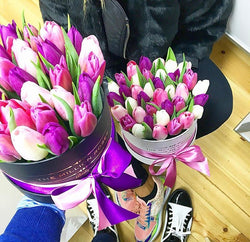 Small - Purple Mix Tulips - Black Box - The Million Roses Slovakia
