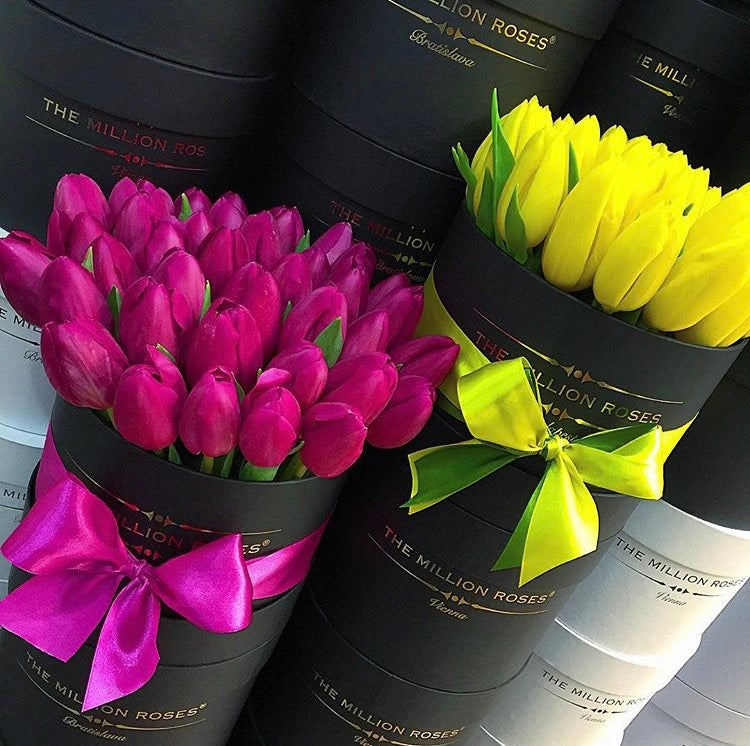 Small - Purple Tulips - Black Box - The Million Roses Slovakia
