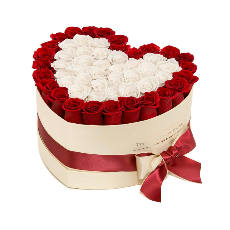 The Million Love Heart - Red & White Eternity Roses - Vanilla Box - The Million Roses Slovakia