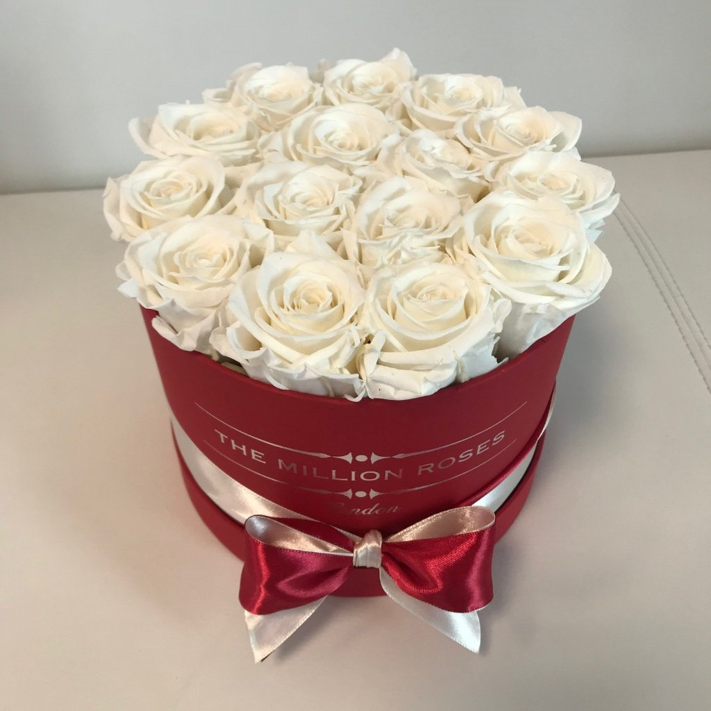 Small - White Roses - Red Box