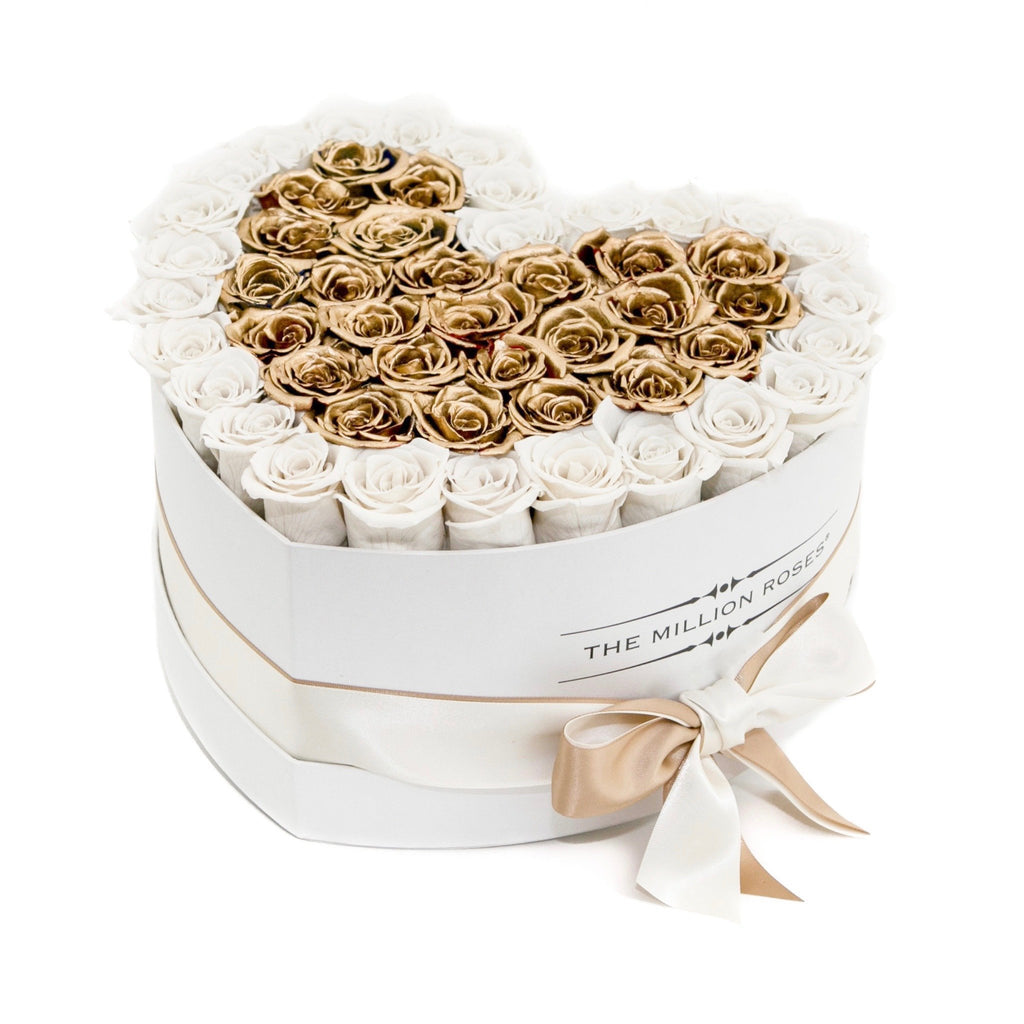 The Million Roses Europe - Heart - White/Gold Eternity Roses - White Box Delivered Anywhere in Europe