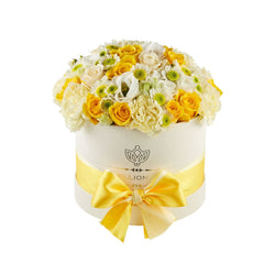 Small - Yellow Mix  - White Box - The Million Roses Slovakia