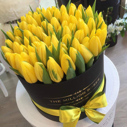 Medium- Yellow Tulips - Black Box - The Million Roses Slovakia