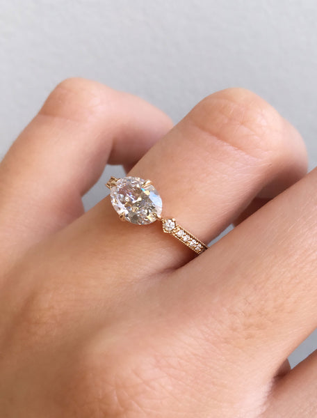 Oval Diamond Ring in Rose Gold;caption:1.20ct. Oval Diamond 14k Yellow Gold