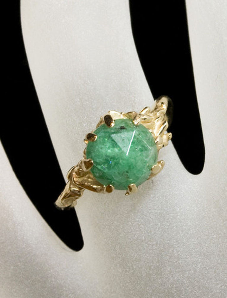 Unique Engagement Rings by Ken & Dana Design - Colette Emerald hand view
