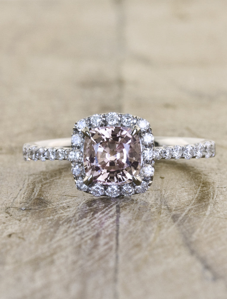 Peach Sapphire Halo Engagement Ring