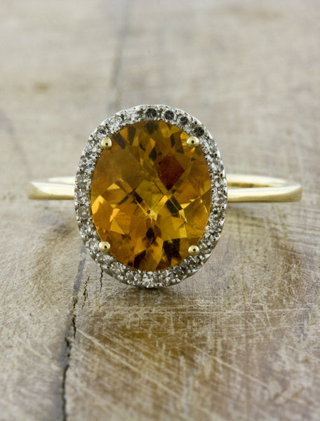 Citrine Halo Engagement Ring in Yellow Gold