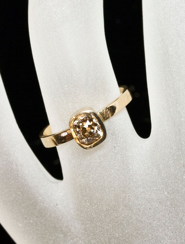 Unique Engagement Rings by Ken & Dana Design - Indira hand view;caption:1.20ct. Old Mine Cut Diamond 14k Yellow Gold