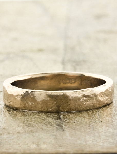Hammered Men's Wedding Bands by Ken & Dana Design - Juno rose gold