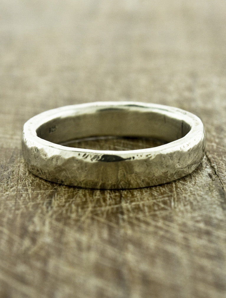 Hammered Men's Wedding Bands by Ken & Dana Design - Juno white gold