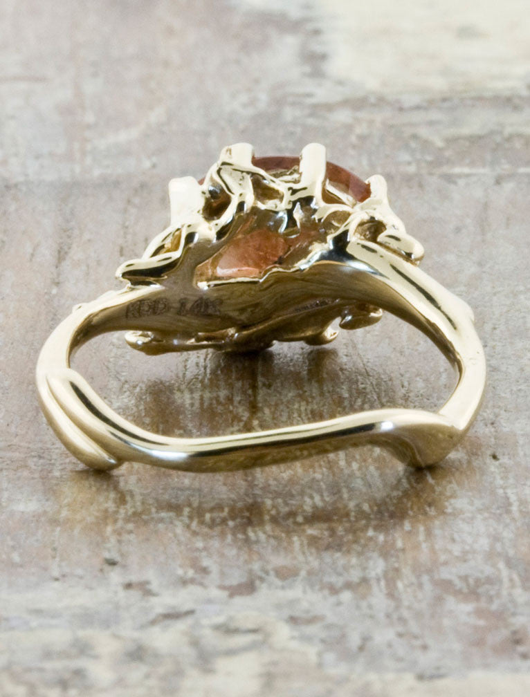sunstone engagement ring, organic band - 8 prong setting