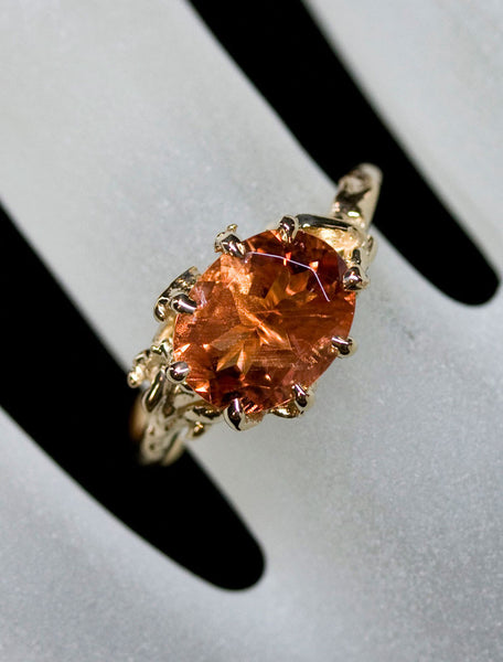 sunstone engagement ring, organic band - amber colored gemstone