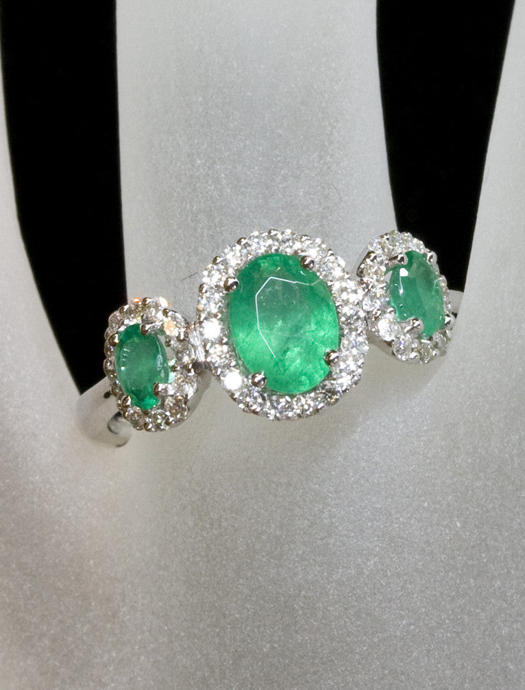 Emerald Multi Stone Halo Engagement Ring