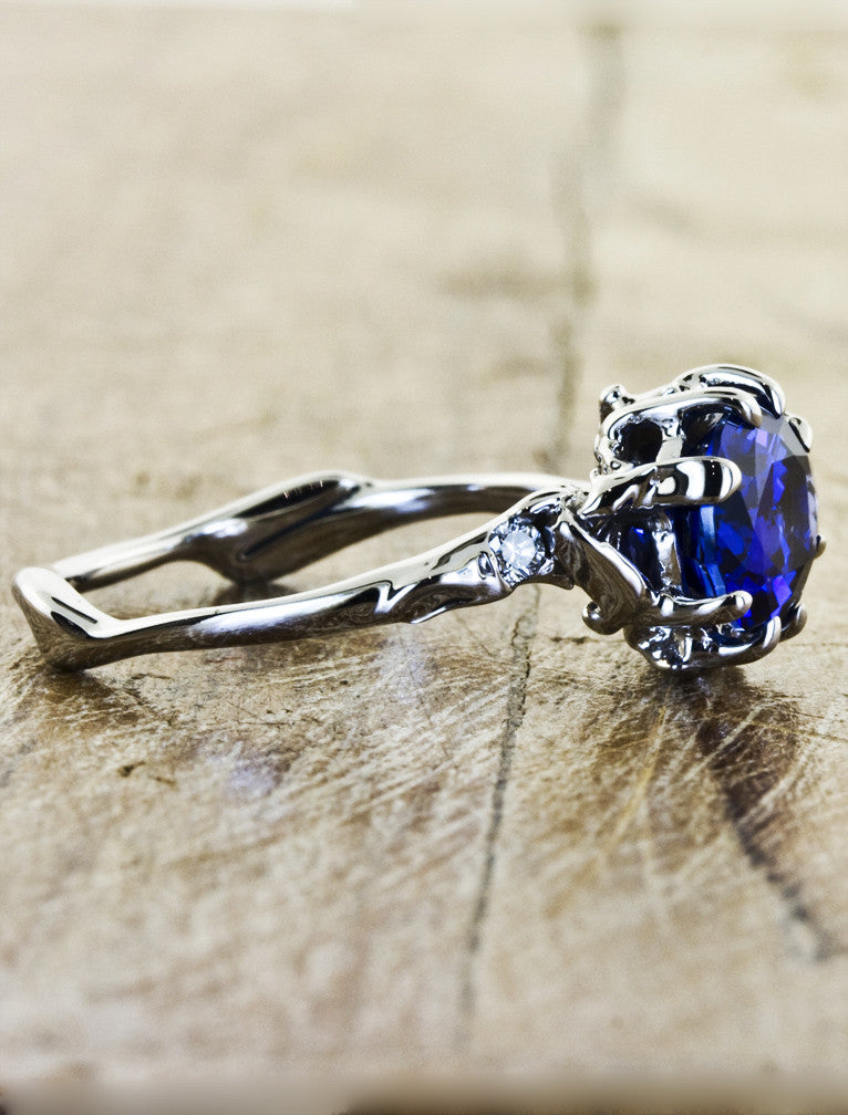 ceylon sapphire engagement ring, organic shaped band