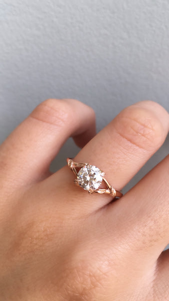 Nature inspired engagement ring;caption:1.30ct. Round Diamond 14k Rose Gold