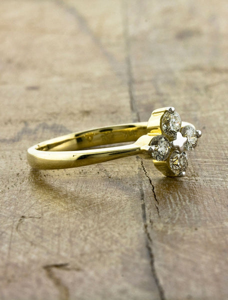Multi Stone Yellow Gold Engagement Ring