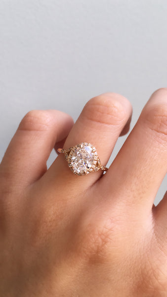 Vintage inspired engagement ring;caption:2.00ct. Oval Diamond 18k Rose Gold