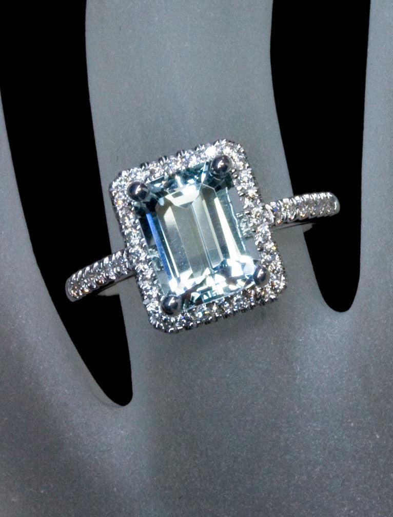 halo emerald cut aquamarine engagement ring