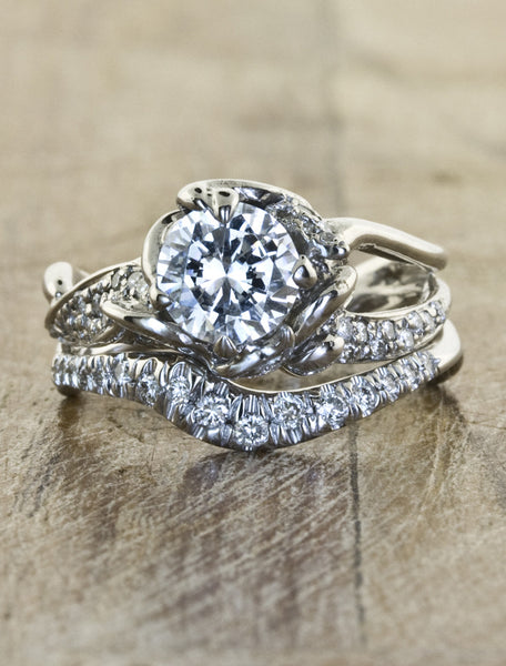 Nature inspired engagement ring - Sundara caption:Sundara 1.00ct. 14k White Gold paired with Bliss wedding band