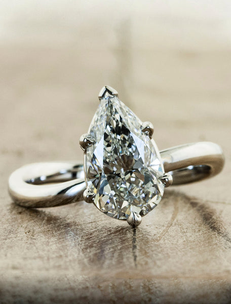 modern pear shaped diamond ring;caption:2.09ct. Pear Diamond Platinum