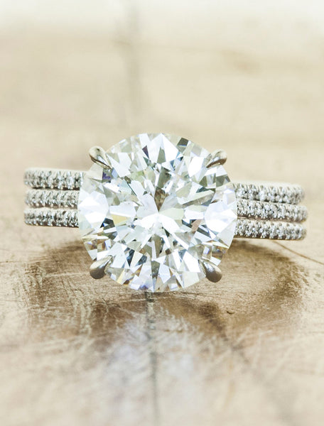 brilliant round diamond double band engagement ring